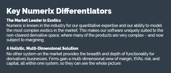 Key Numerix Differentiators | The Market Leader in Exotics - Numerix is known in the industry for our quantitative expertise and our ability to model the most complex exotics in the  market. This makes our software uniquely suited to the non-cleared derivative space, where many of the products are very complex - and now subject to margining. | A Holistic, Multi-Dimensional Solution - No other system on the market provides the breadth and depthof functionality for derivatives businesses. Firms gain a multi-dimensional view of margin, XVAs, risk, and capital, all within one system, so they can see the whole picture.